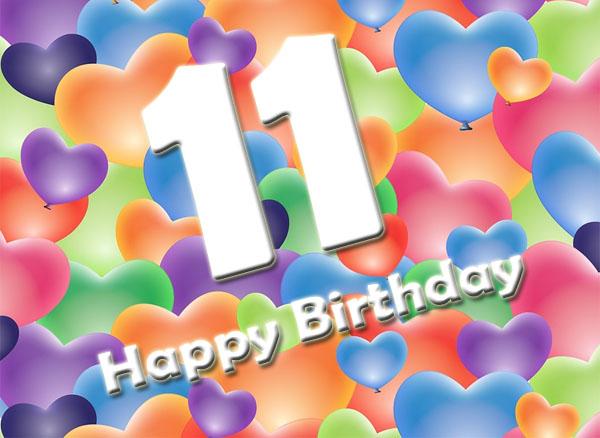 Bunte Grüße zum 11. Geburtstag