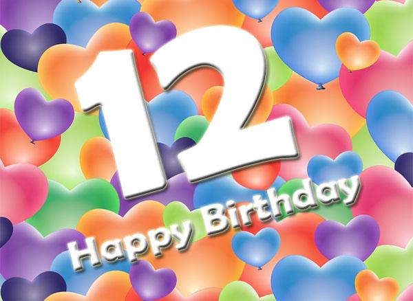 Herzen zum 12. Geburtstag