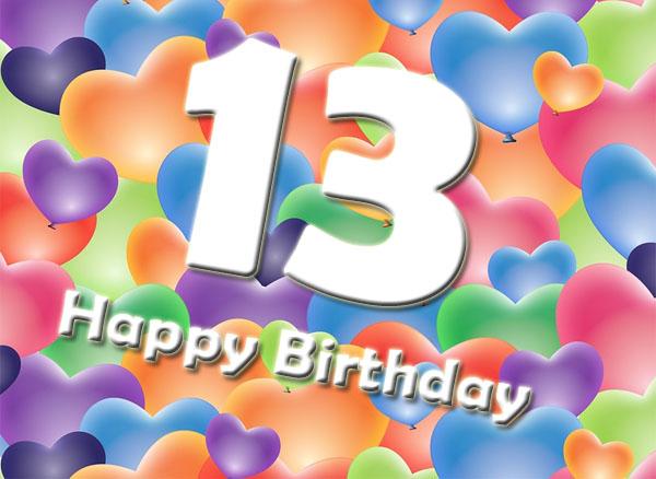 13. Geburtatag Wünsche mit Herzen
