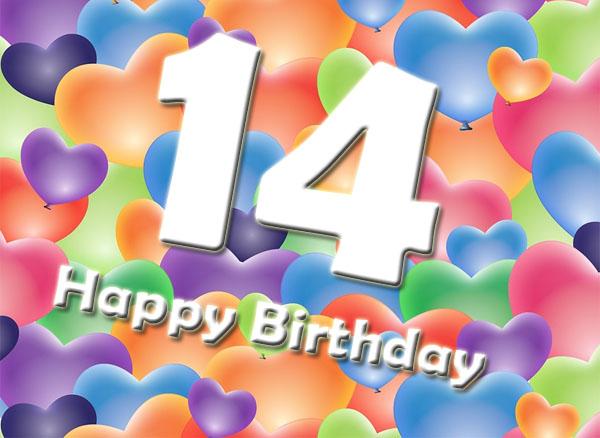 Herzen zum 14. Geburtstag
