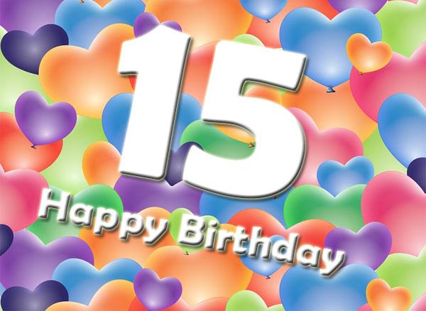Herzen zum 15. Geburtstag