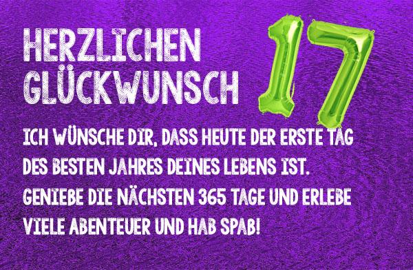 Spruch zum 17. Geburtstag