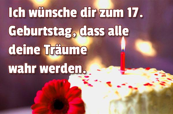 Glückwünsche zum 17. Geburtstag