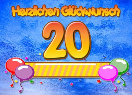 Süßes Grüße zum 20. Geburtstag