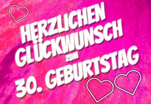 Pinker herzlicher Glückwunsch zum 30. Geburtstag