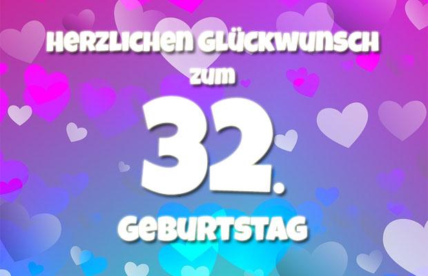 Herzen zum 32. Geburtstag