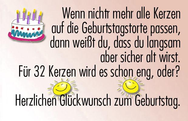Lustige Glückwünsche zum 32. Geburtstag