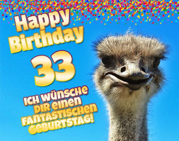Komischer Vogel zum 33. Geburtstag
