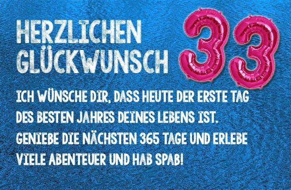 Herzliche Grüße zum 33. Geburtstag
