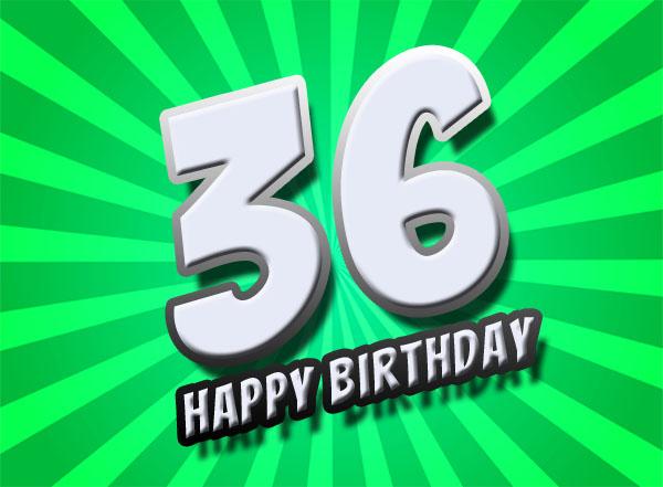 Strahlende Glückwünsche zum 36. Geburtstag