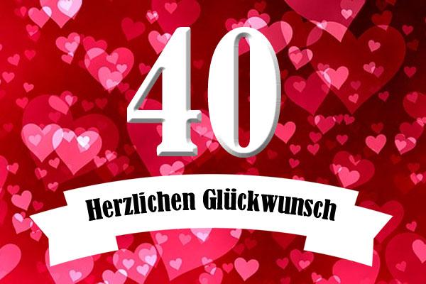 Rote Herzen zum 40. Hochzeitsjubiläum