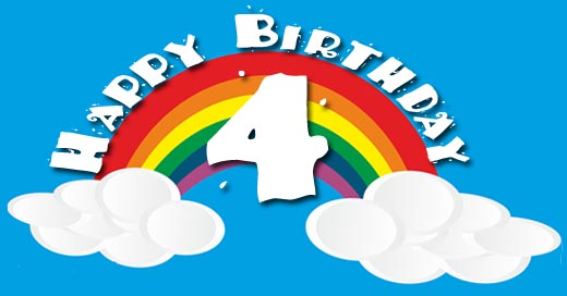 Regenbogengrüße zu 4. Geburtstag