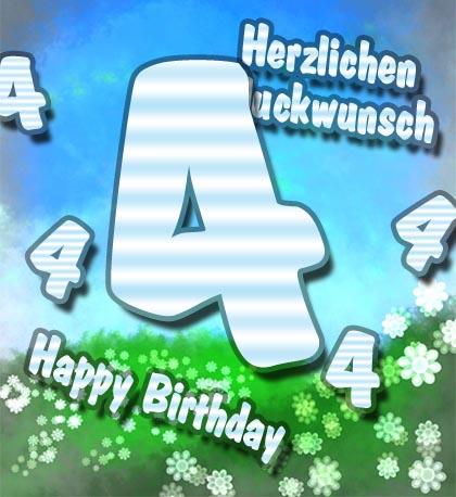 Herzliches Glückwünsche zum 4. Geburtstag