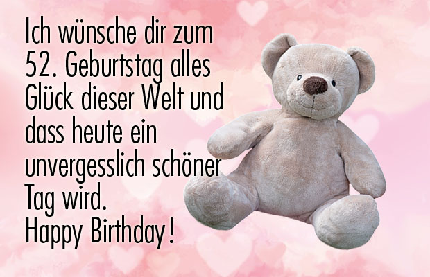Süßer Teddy zum 52ten Geburtstag