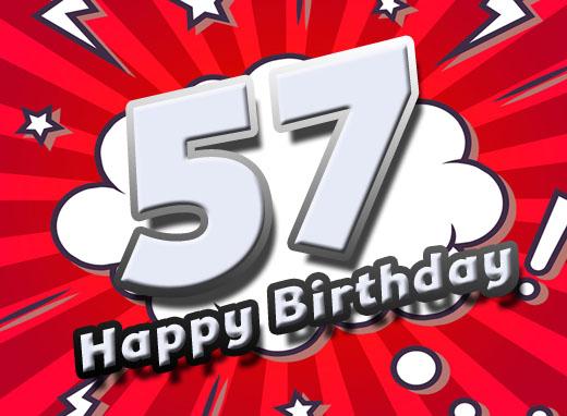 Moderne Wünsche zum 57. Geburtstag