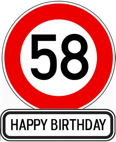 Straßenschild zum 58. Geburtstag