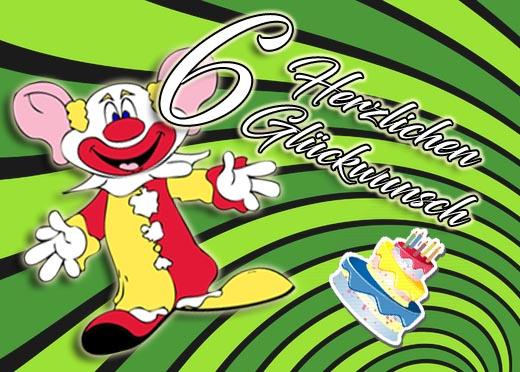 Clown mit Grüßen zum 6. Geburtstag