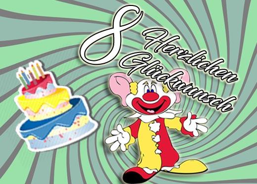 Clown mit Torte zum achten Geburtstag
