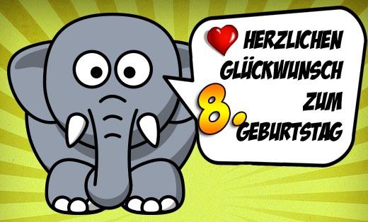 Lustiger Elefant mit Wünschen zum 8. Geburtstag