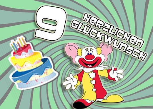 Clown gratuliert zum 9. Geburtstag