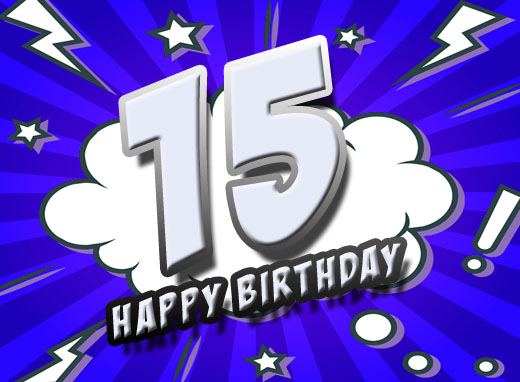Bild im Comic Stil zum 15. Geburtstag