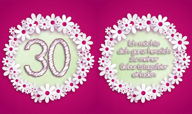 Einladung zum 30. Geburtstag für Frauen