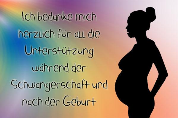 Schwangere Frau sagt Danke