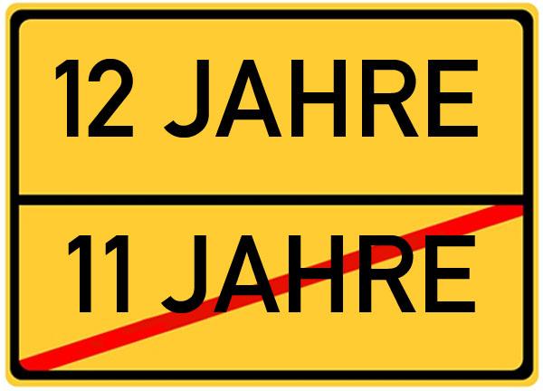 Schild zum 12. Geburtstag