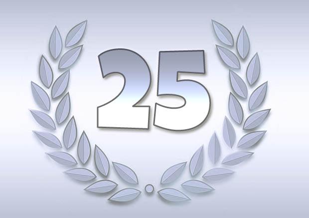 25 Jahre mit Loorbeerkranz